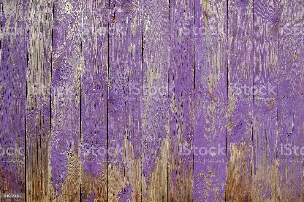 Scratched purple wooden planks stock photo