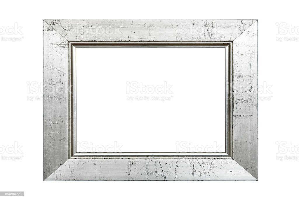 Scratched Silver Picture Frame (Clipping Path Included) royalty-free stock photo