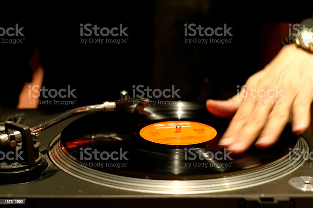 Scratching the record stock photo