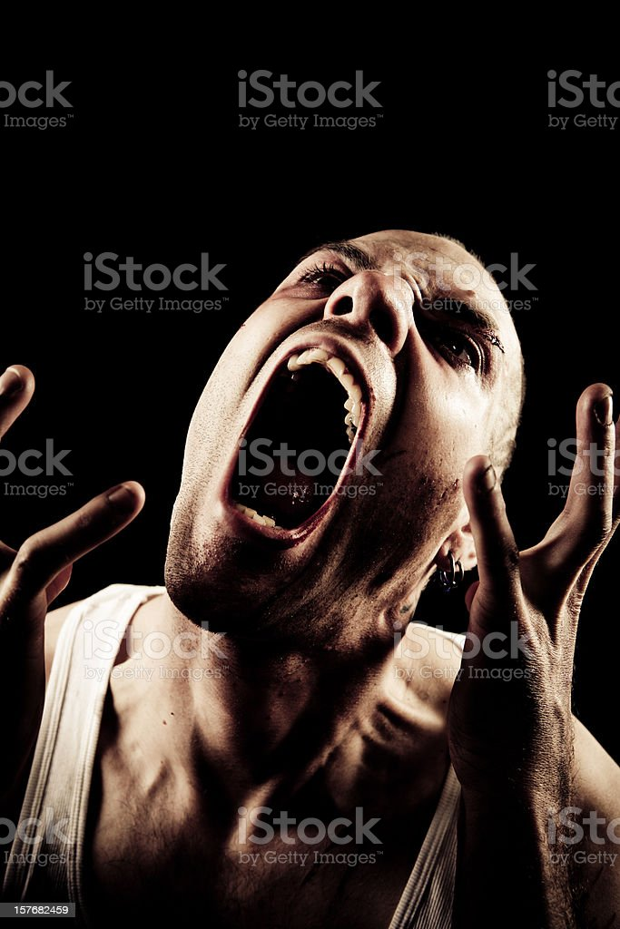 Scream in the dark stock photo