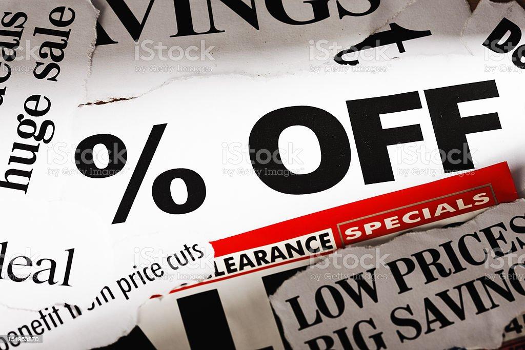 % OFF scream press headlines on super savings! royalty-free stock photo