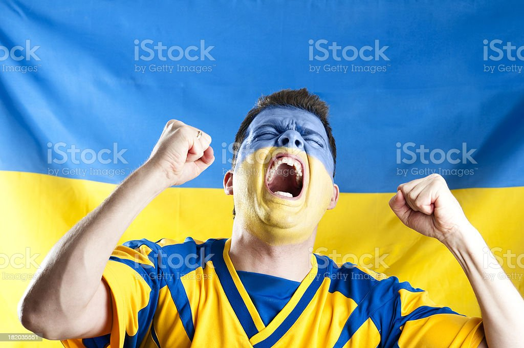 Screaming and cheering sports fan royalty-free stock photo