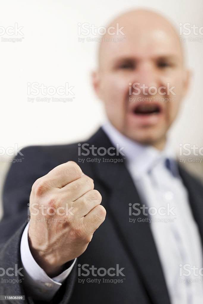 Screaming angry men fist royalty-free stock photo