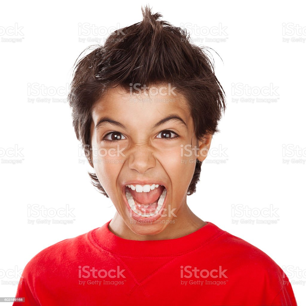 Screaming boy portrait stock photo