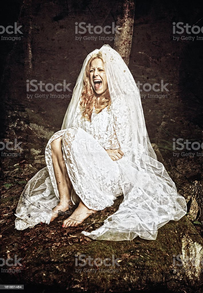 Screaming bride stock photo