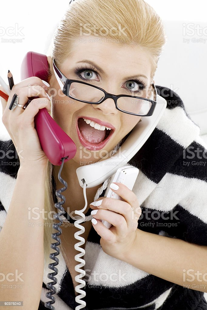 screaming businesswoman royalty-free stock photo