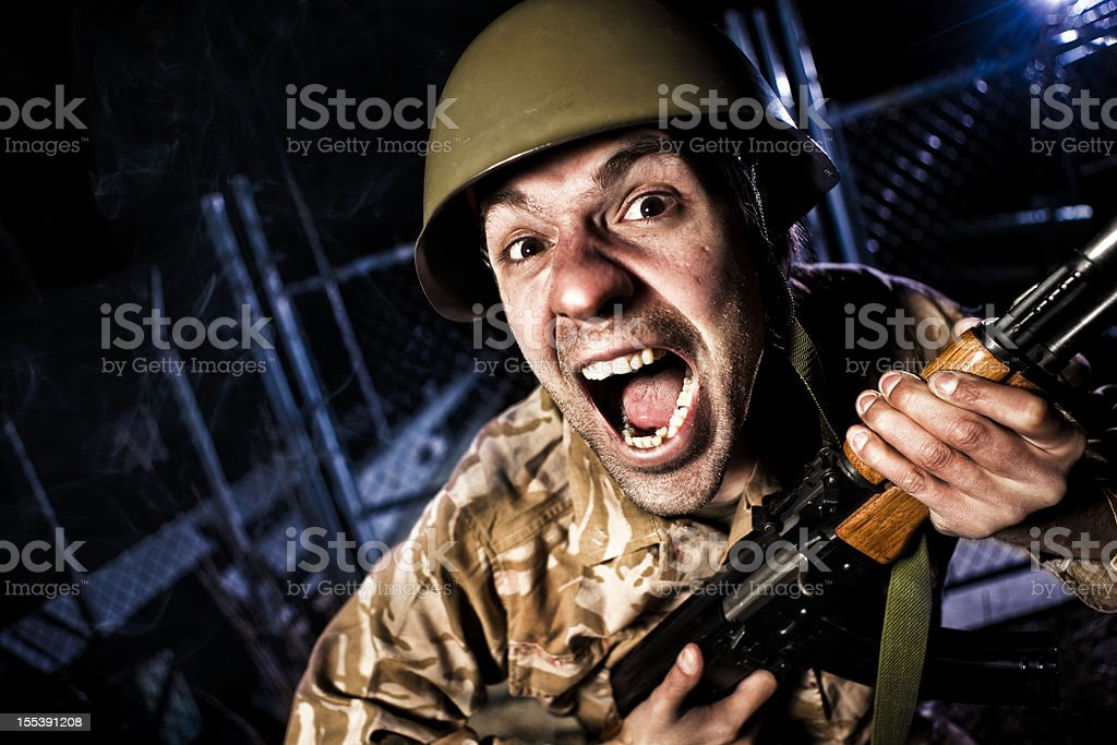 Screaming Checkpoint Soldier royalty-free stock photo