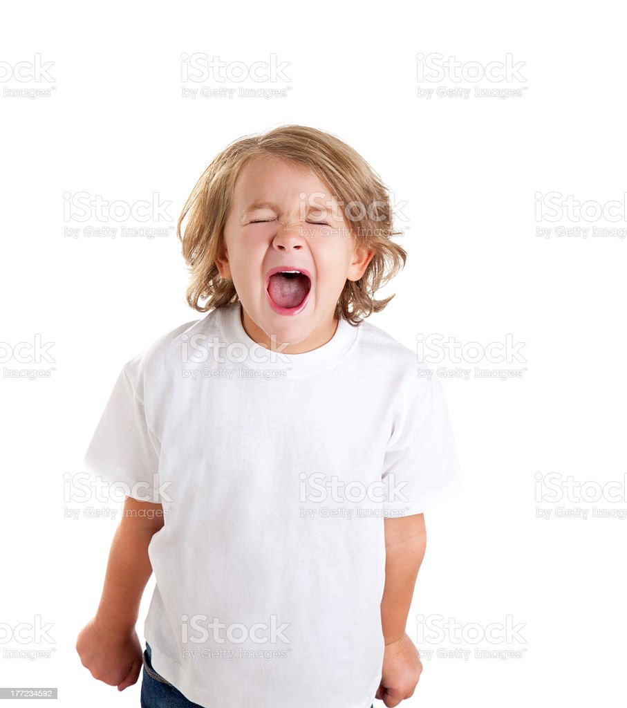 Screaming child in white shirt over a white background stock photo