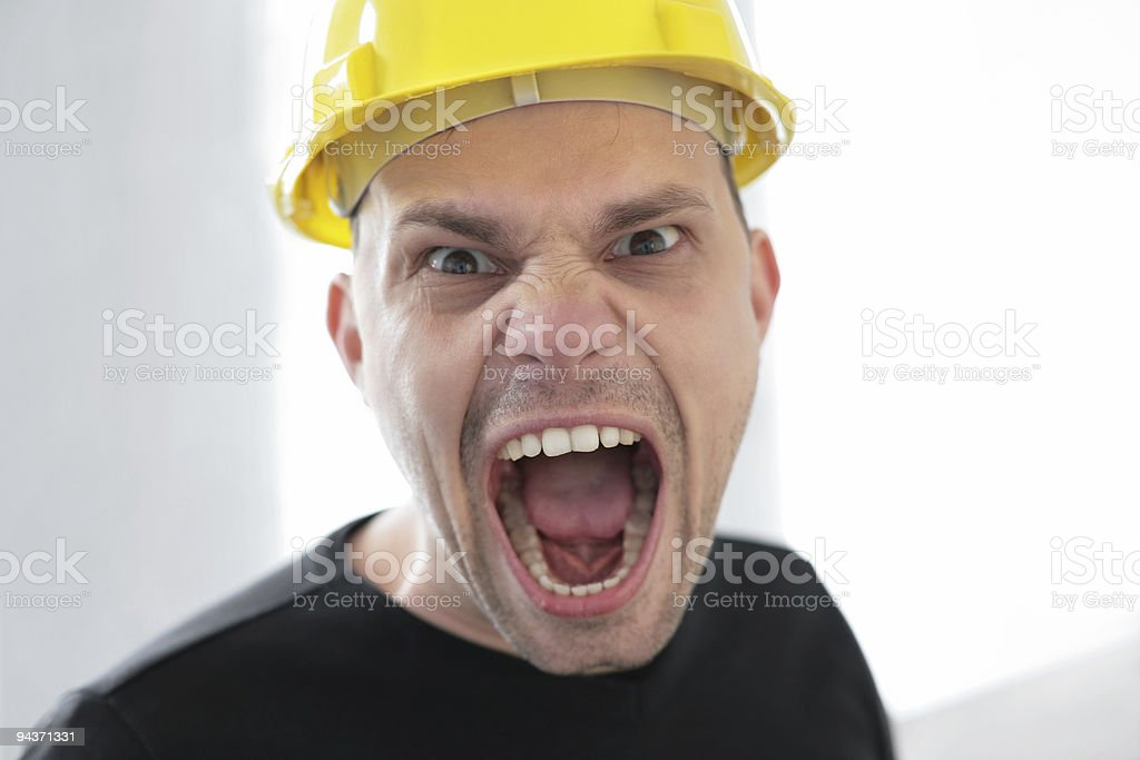 screaming construction worker royalty-free stock photo
