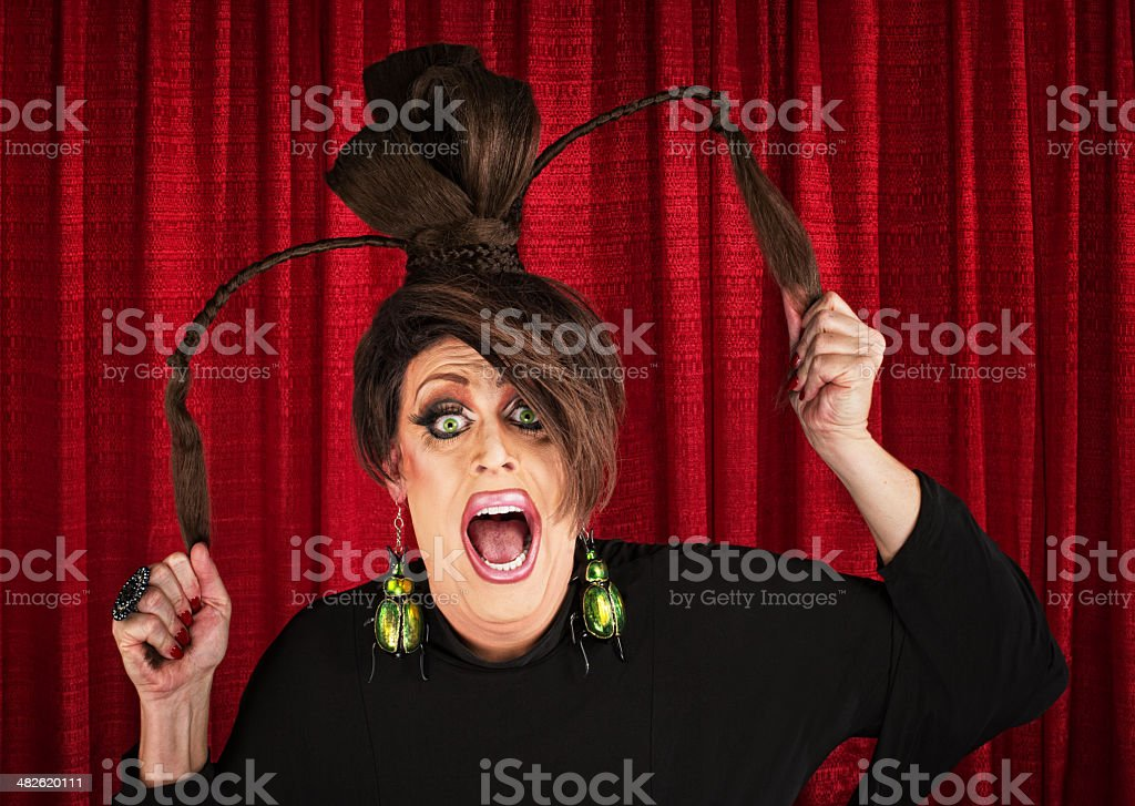 Screaming Drag Queen Pulling Hair stock photo