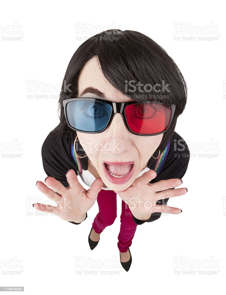 Screaming Fisheye Woman Wearing 3D Glasses royalty-free stock photo