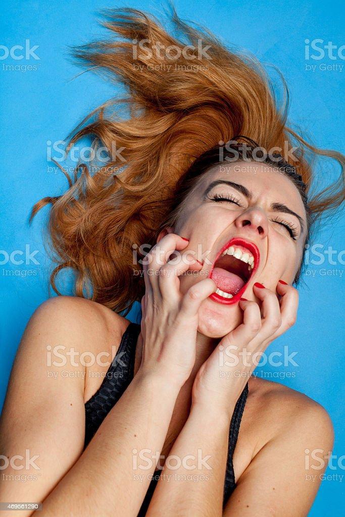 screaming girl stock photo