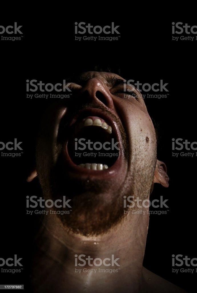 Screaming Man in Pain royalty-free stock photo