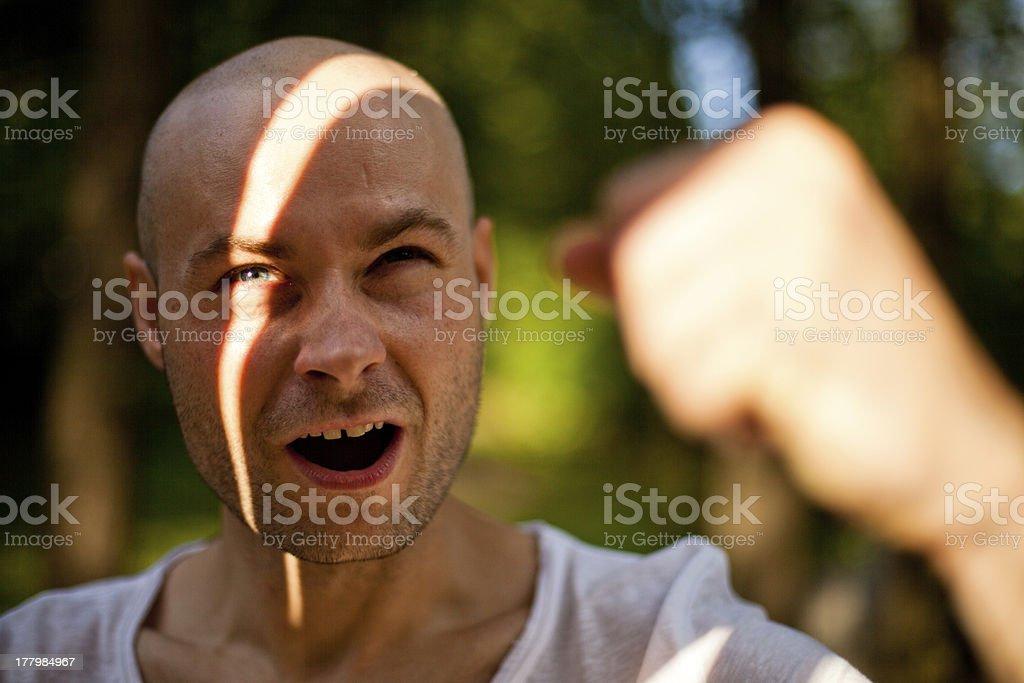 Screaming man stock photo