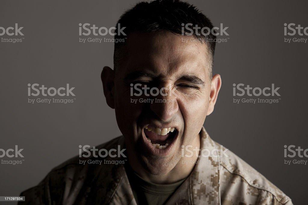 Screaming Marine stock photo