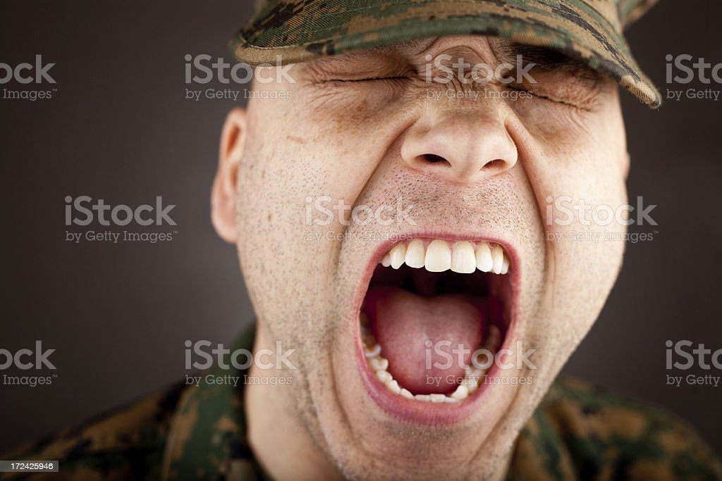 Screaming Marine With His Eyes Shut royalty-free stock photo