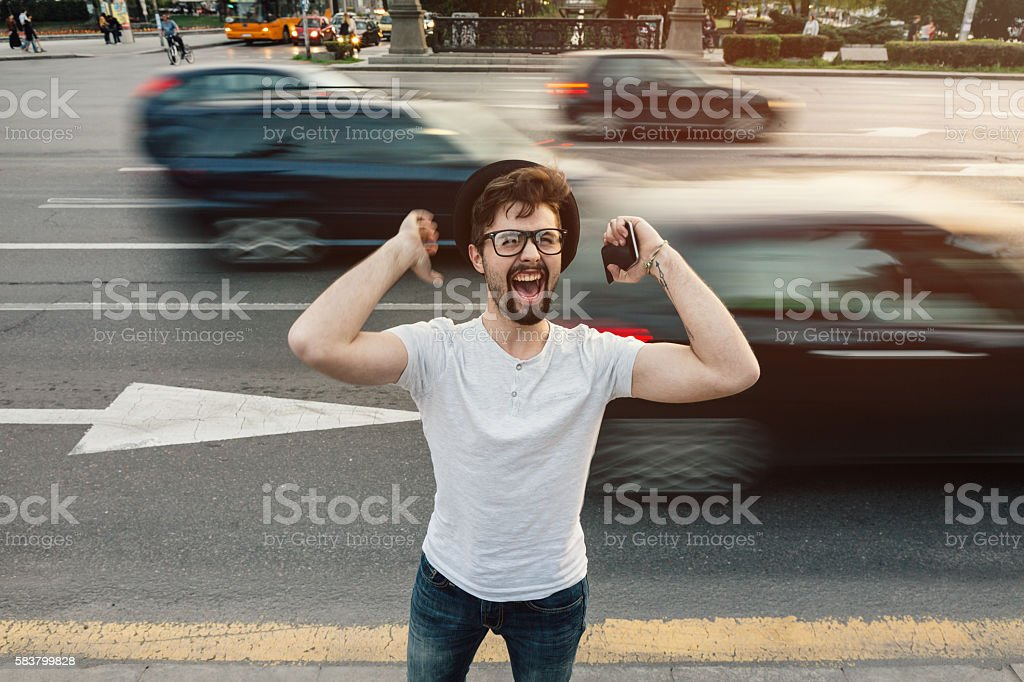 Screaming of excitement and happiness stock photo