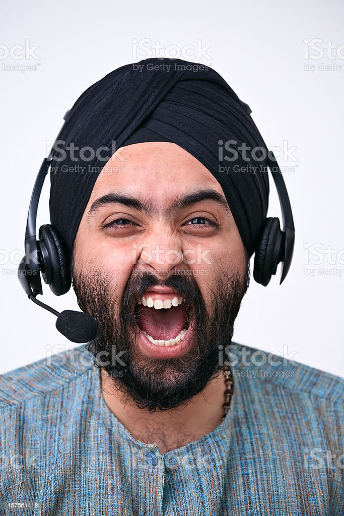 Screaming on the phone (headset) stock photo