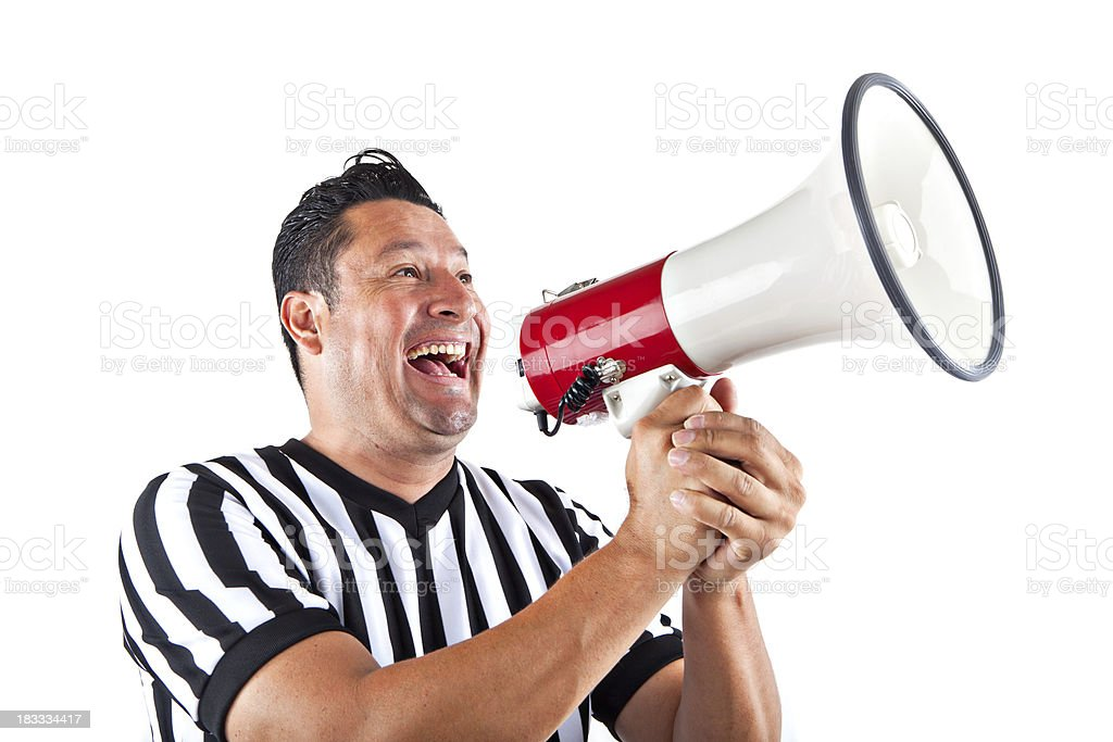 screaming referee with megaphone stock photo