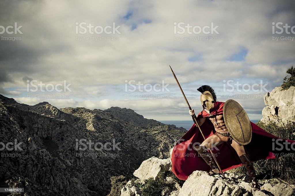 screaming spartan warrior stock photo