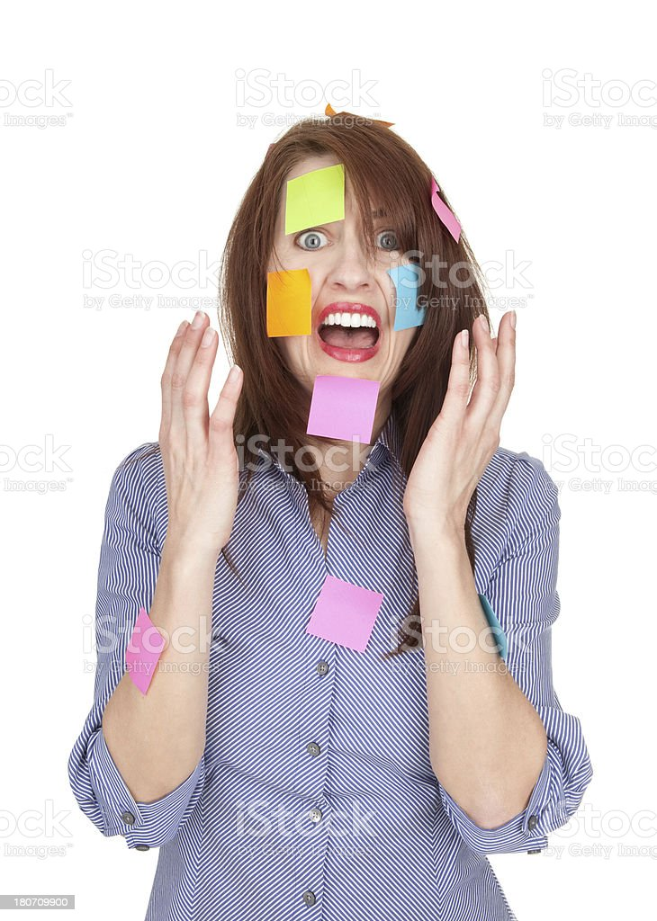Screaming Stressed Business Woman Covered in Sticky Notes royalty-free stock photo