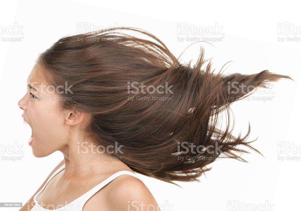 Screaming woman in rage stock photo