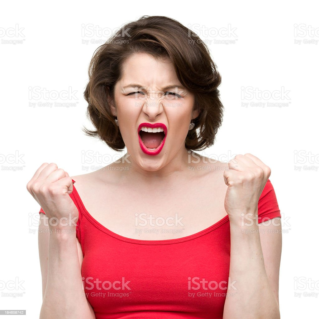 Screaming Woman Shakes Fists royalty-free stock photo