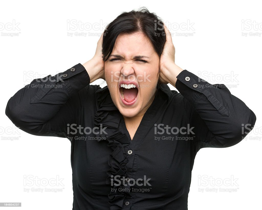 Screaming Young Woman Covers Ears royalty-free stock photo