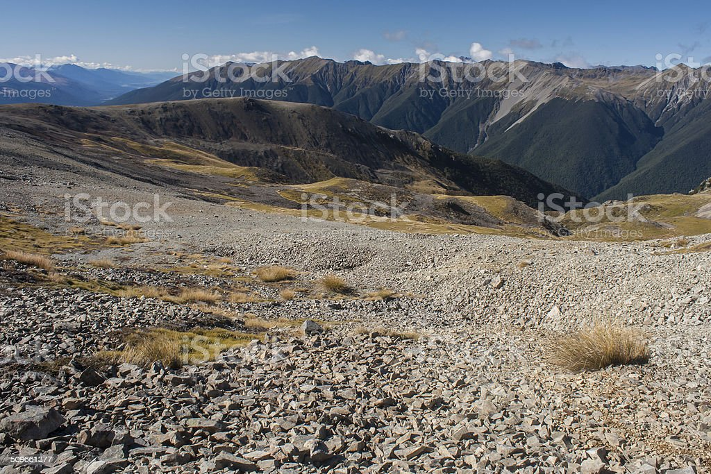 scree on slopes in Nelson Lakes National Park stock photo