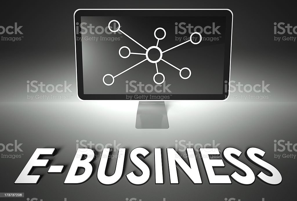 Screen and internet sign with E-business, E-commerce royalty-free stock photo