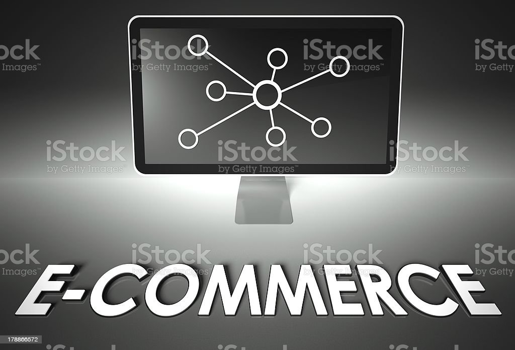 Screen and internet sign with E-commerce, Business royalty-free stock photo