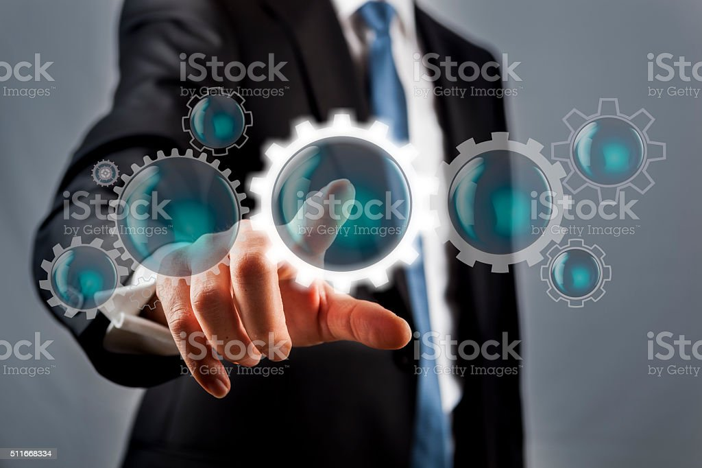 Screen concept with Gears stock photo