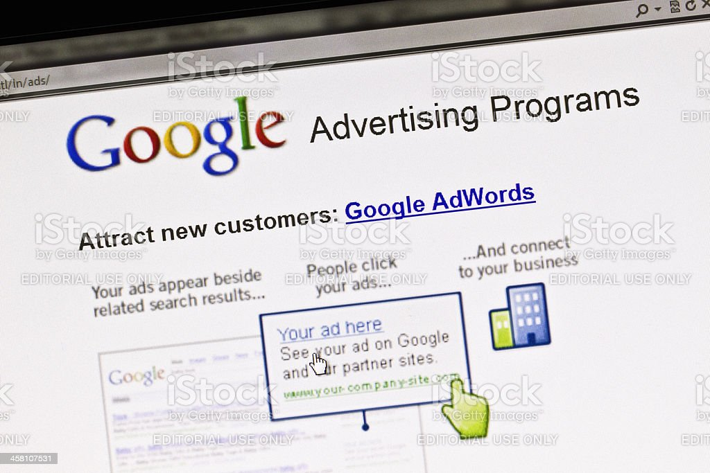 Screen displays Google advertising program stock photo