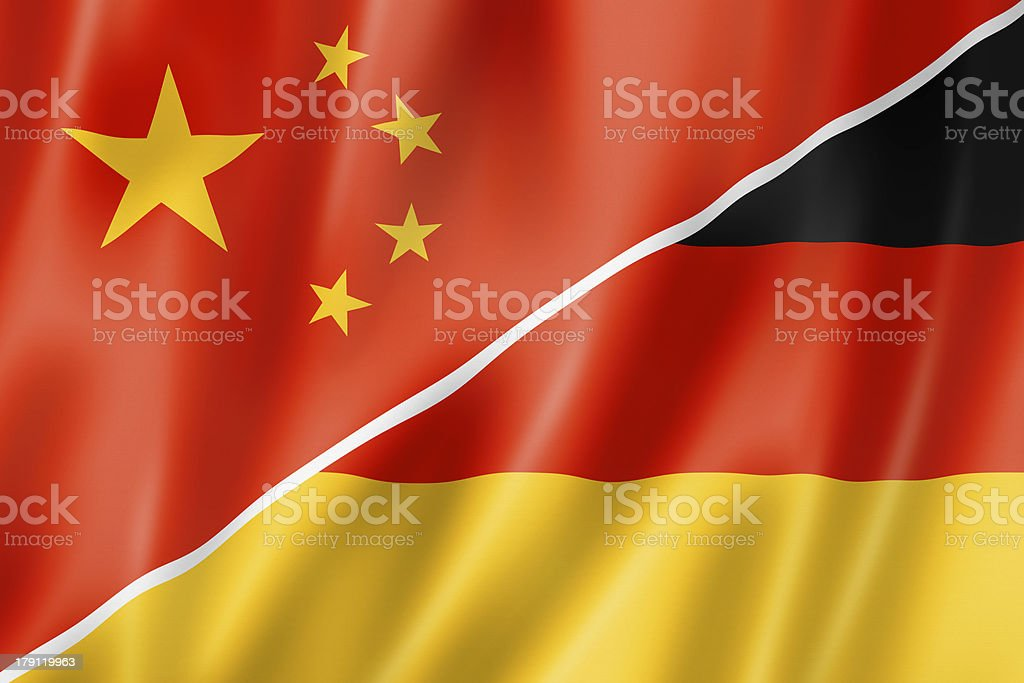 A screen divided by the flag of China and Germany royalty-free stock photo