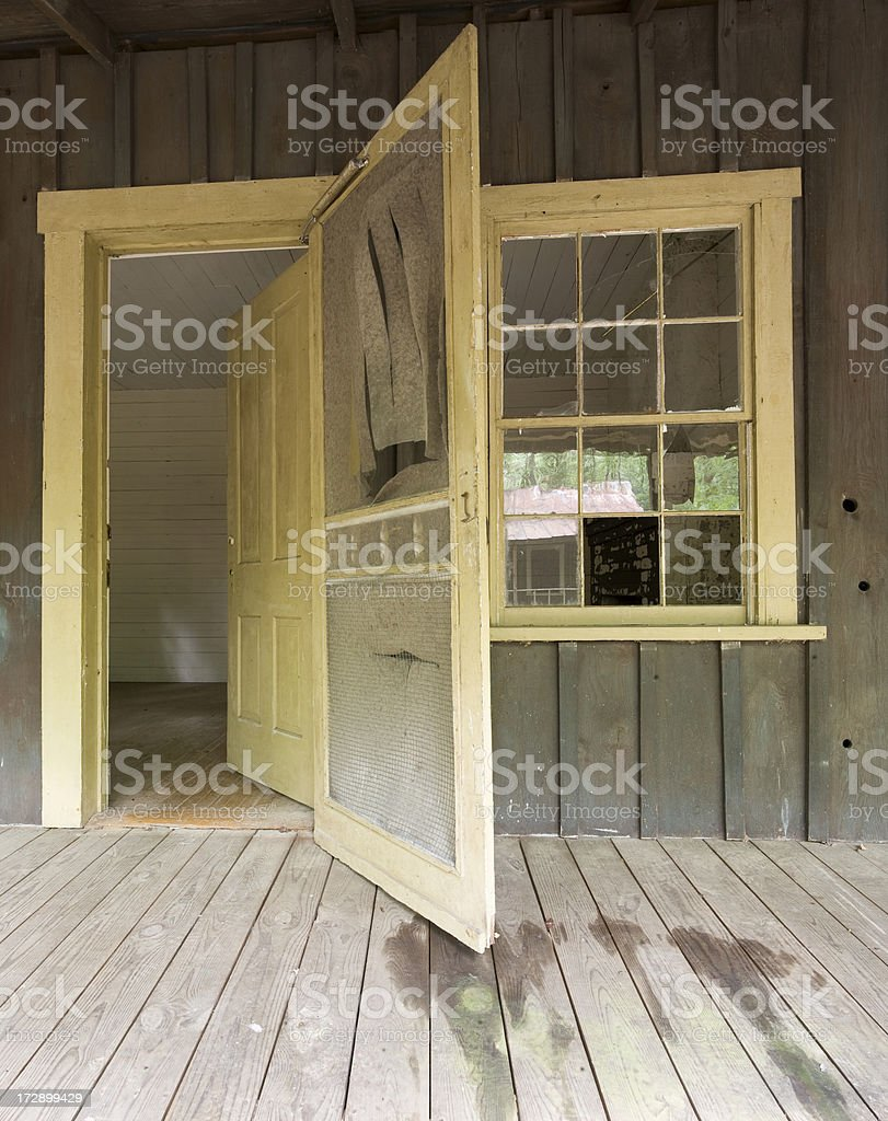 Screen door and window stock photo
