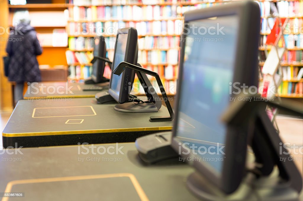 screen in library stock photo