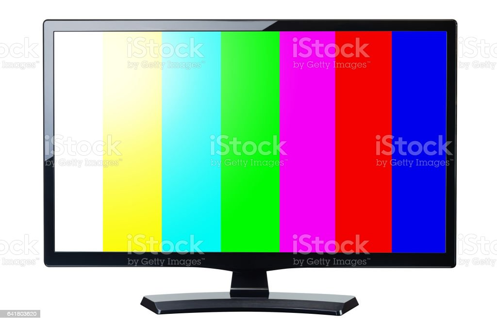 screen monitor tv retro video with colorful bars isolated stock photo
