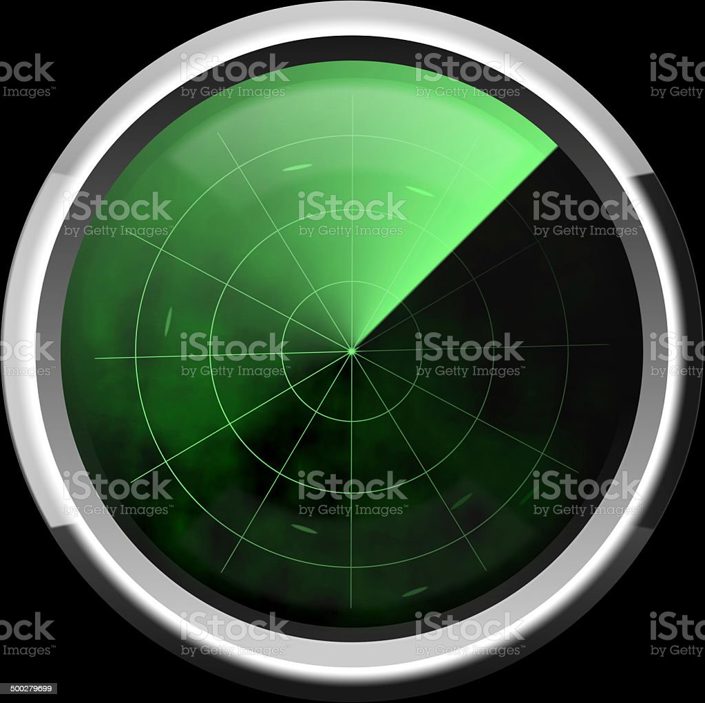 Screen of a radar in green tones stock photo