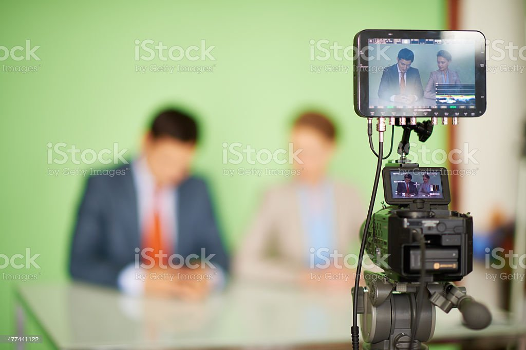 Screen of video camera stock photo