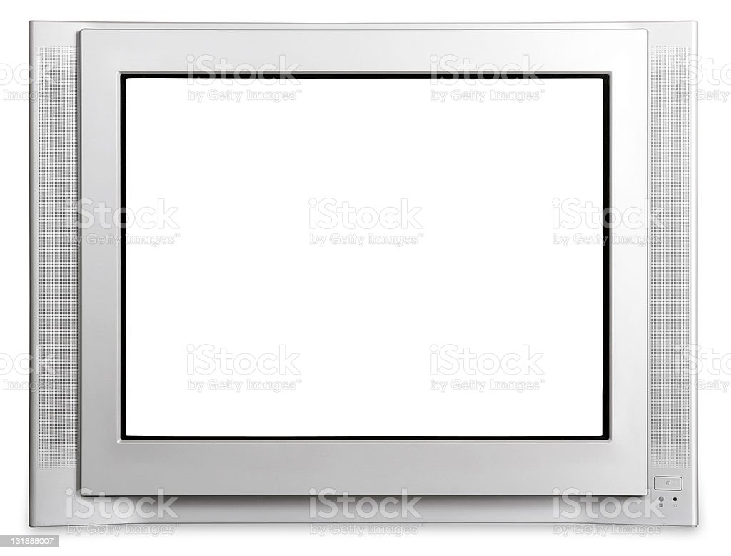 TV screen on white [with clipping paths] stock photo