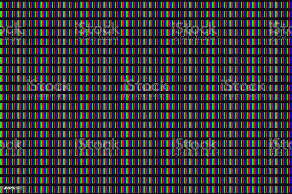 LCD screen pixels triads closeup stock photo