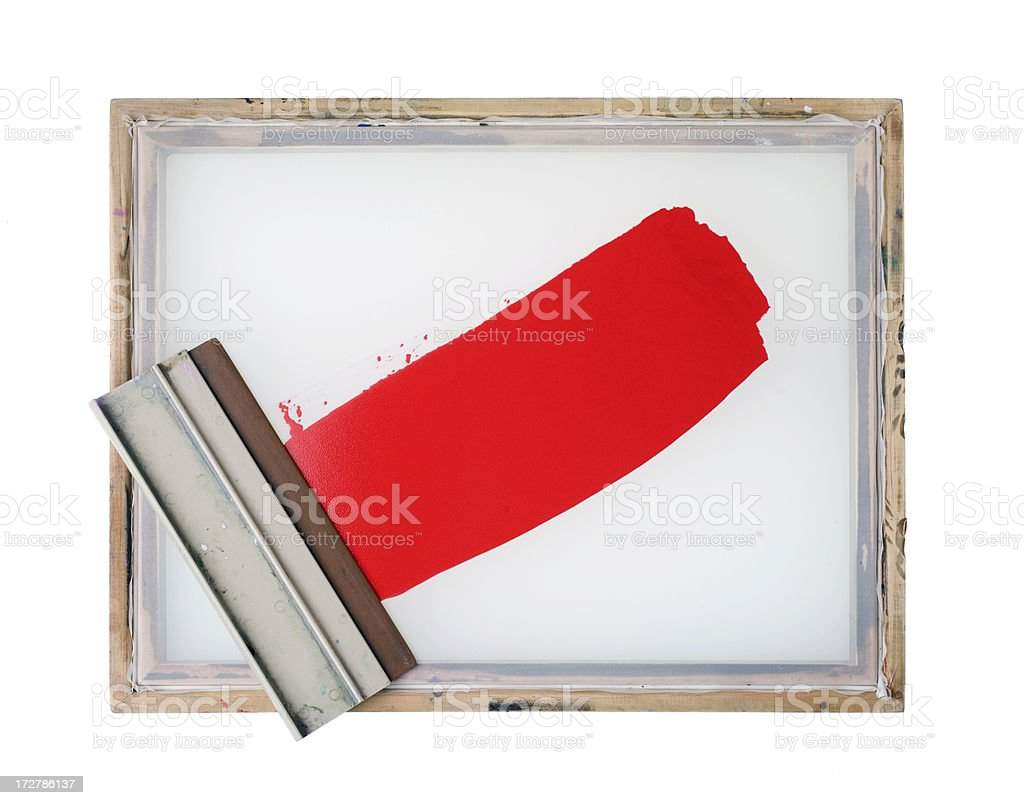 Screen printing frame with red paint (isolated) stock photo