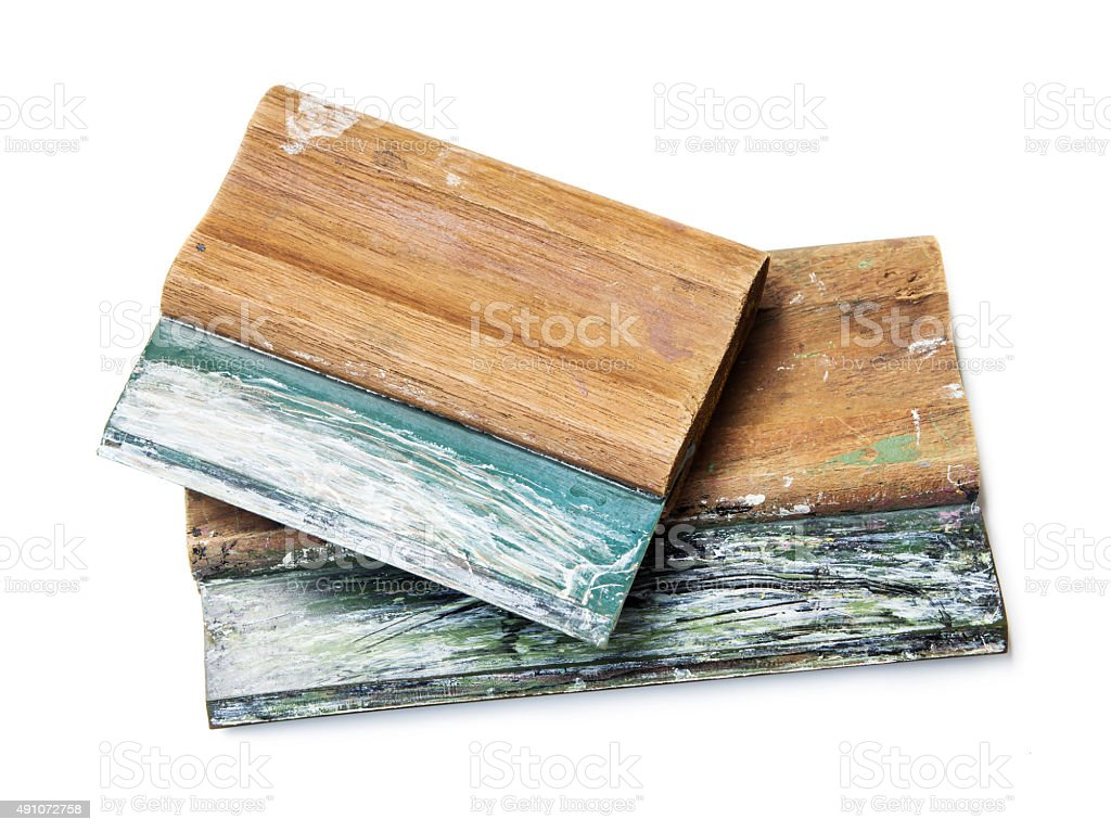Screen printing squeegee on white background stock photo