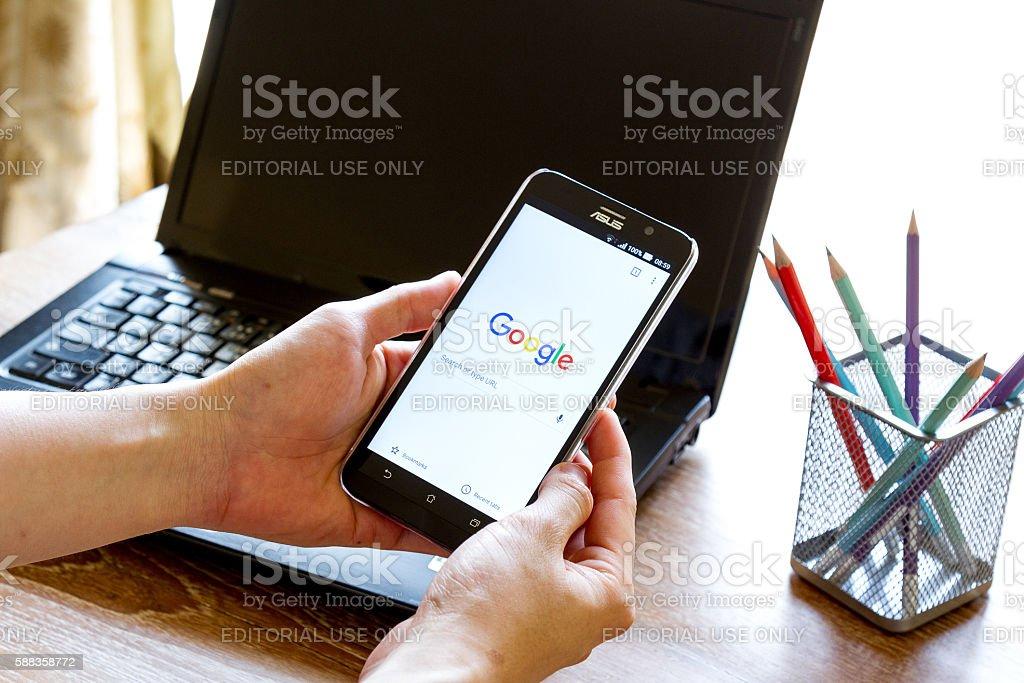 screen shot of Google Chrome application stock photo