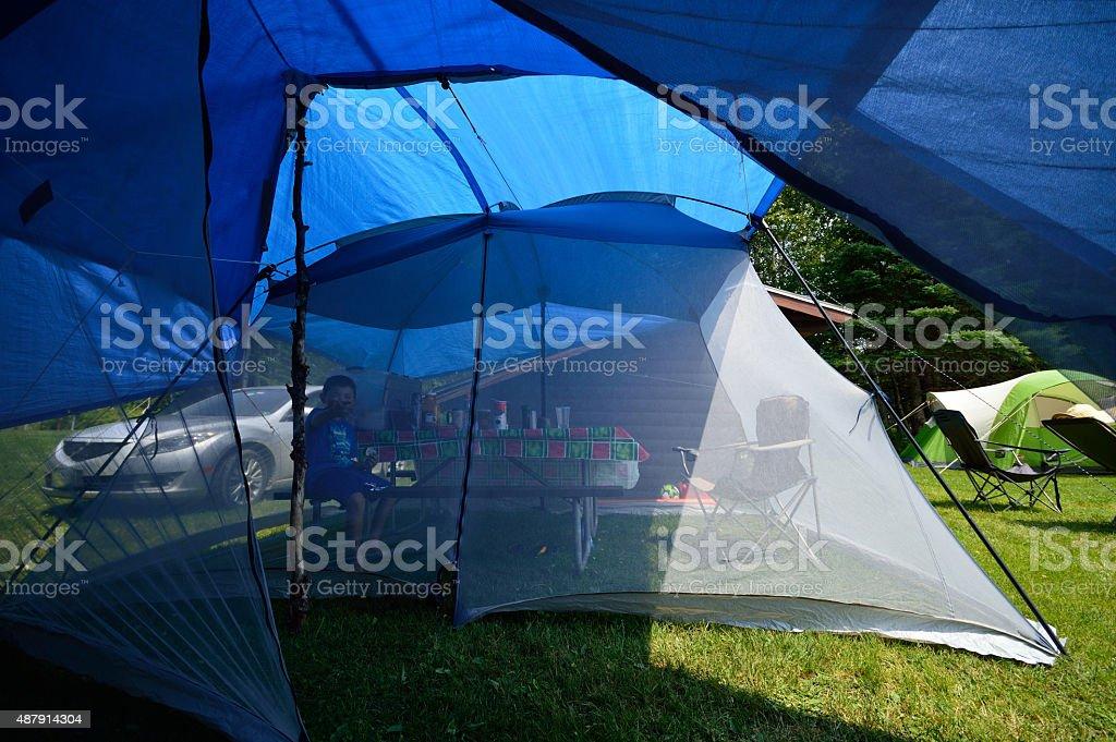 Screen Tent Tarps Camping stock photo