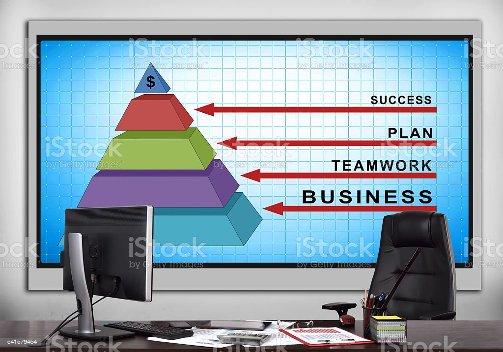 screen with business pyramid stock photo