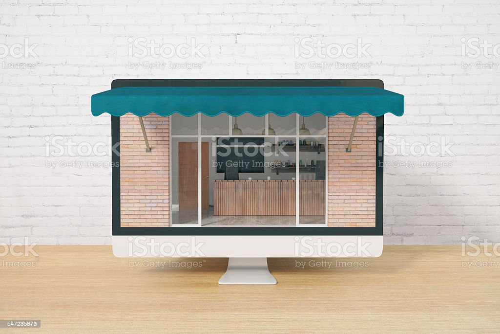 Screen with cafe exterior stock photo