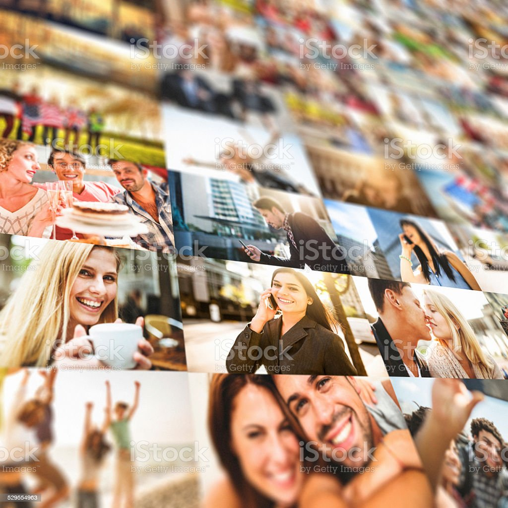screen with multiple pictures deformed stock photo