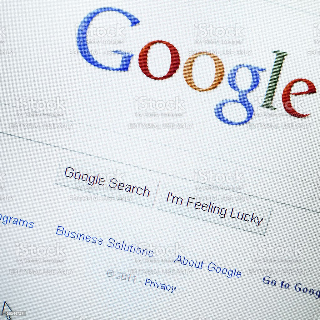 LCD screen with www.google.com apps stock photo