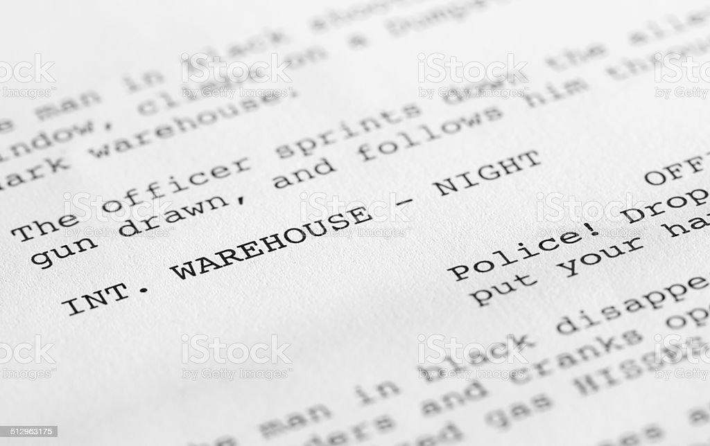 Screenplay close-up 2 (generic film text written by photographer) stock photo